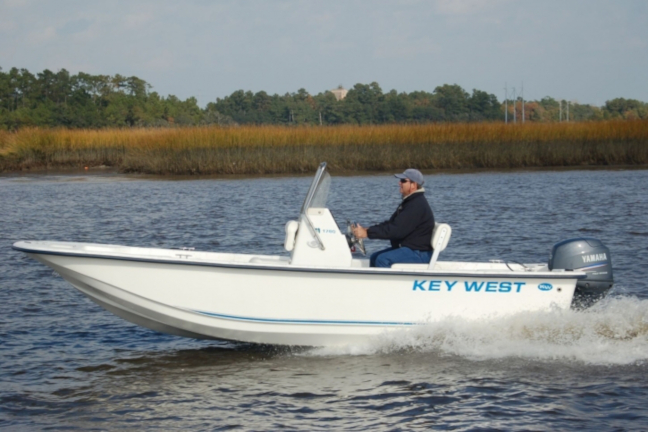 Picture of a 17 Foot fishing skiff boat