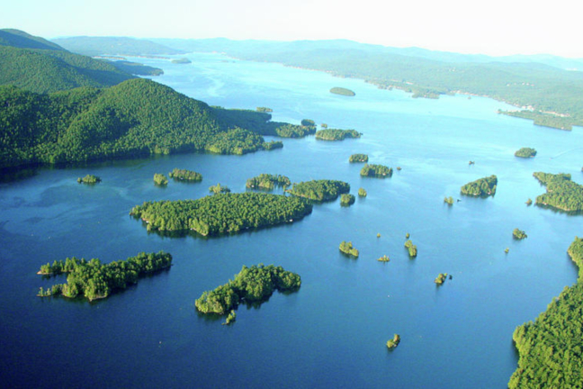 Aerial view of the Narrows section of Lake George in New York